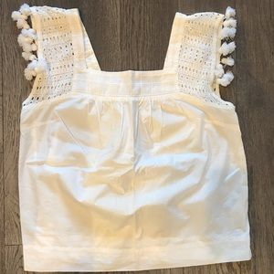 Jcrew White Pom Pom tank top - great condition!